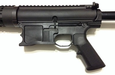 Polymer80 WarrHogg 308 AR-10 style 80% lower receiver attached left